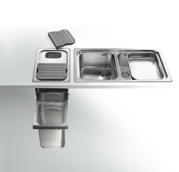 Edelstahl Einbauspüle in Alpes Inox-Qualität - Abfall-Trennsystem