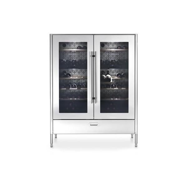 Hochschrank mit 128 cm Breite zur Aufnahme eines doppelten Weinkühlschranks