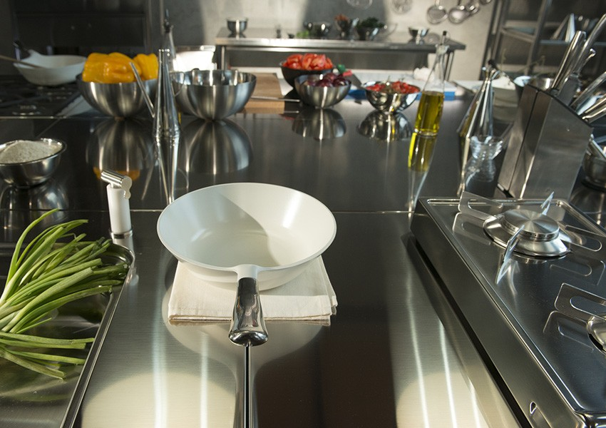 Edelstahlküche 130 cm Gas-Klapp-Kochfelder