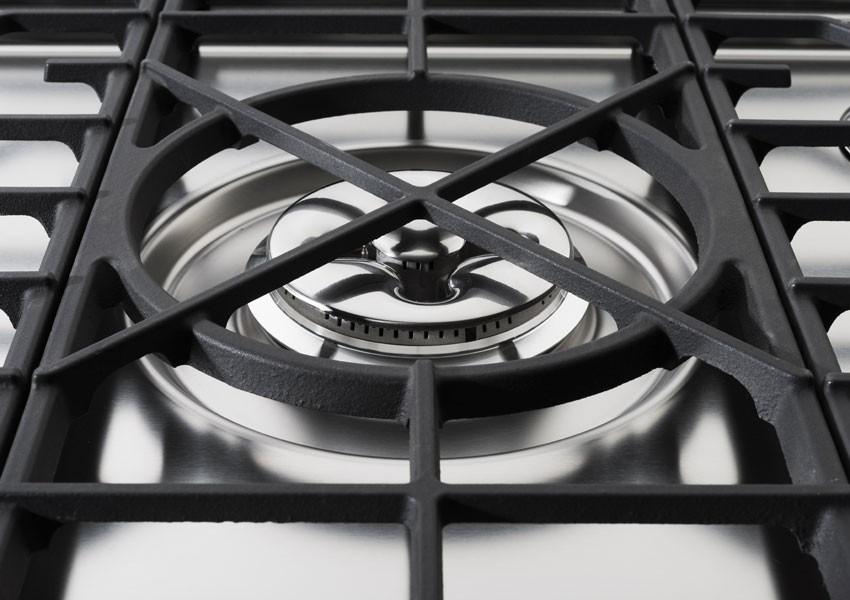 Edelstahlküche Gas mit Gusseisen-Rost 130 cm