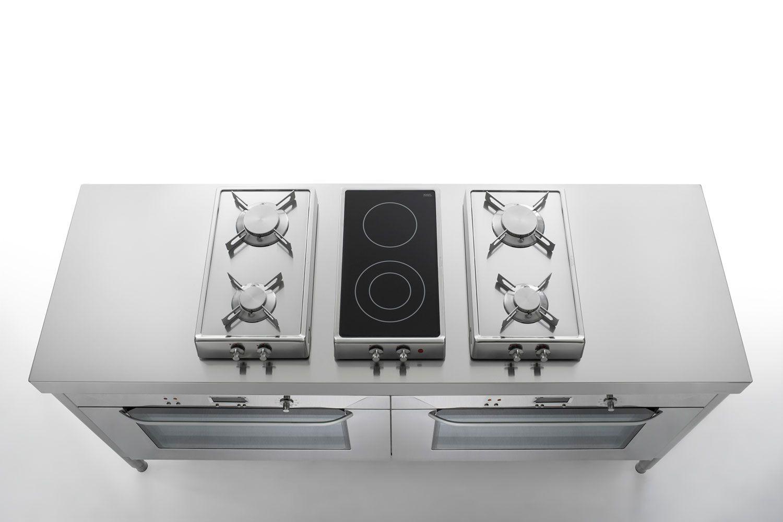 Edelstahl-Küche 190 cm als großer Herd
