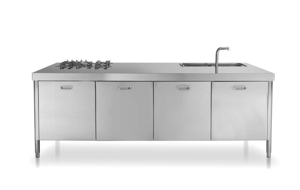 Edelstahl-Küchenelement zum Kochen und Lagern 250 cm breit