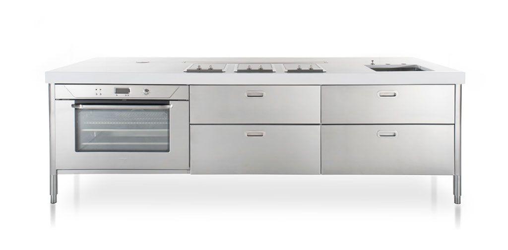 Edelstahl Küchenmöbel - Kochen und Aufbewahren - 280 cm