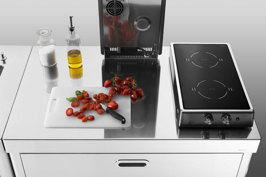 Edelstahlküche kombiniert 100 cm