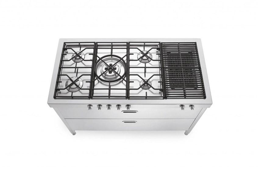 Edelstahl Küche 130 cm kochen Gas Gusseisenrost