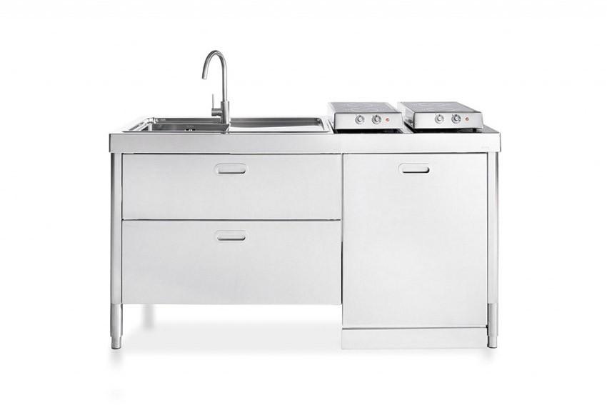Edelstahl-Küchenelement zum Kochen und Spülen 160 cm