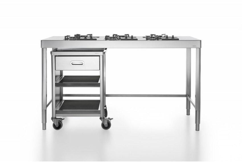 Edelstahl-Küchenelement zum Kochen 160 cm