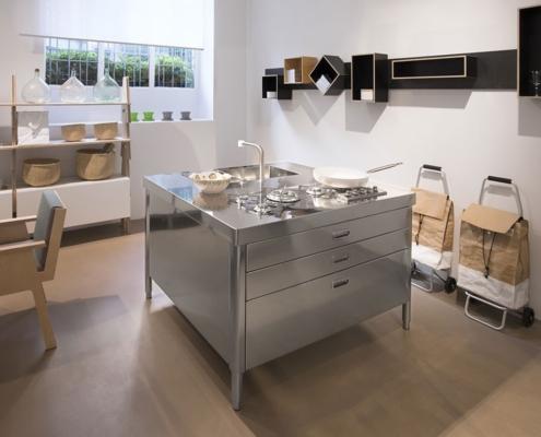 Edelstahl-Küchenelement 130 cm, Insel mit Kochfeld