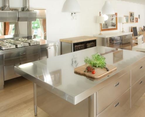 Edelstahl Küche 190 - 220 cm mit Theke