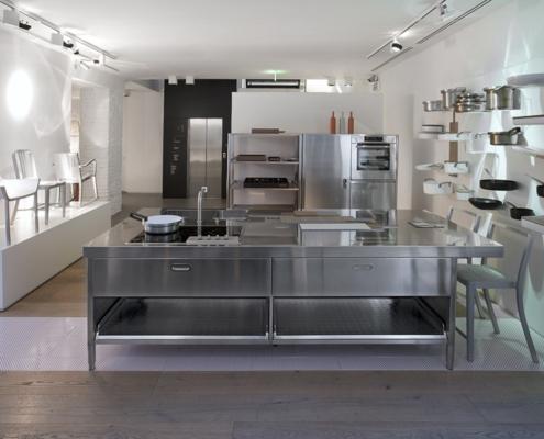Kücheninsel, 280 cm breit, mit seitlicher Theke